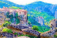 Watercolor Drawing Picture Of Meteora Famous Temple World Heritage Site At Kalambaka Greece.