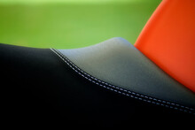 Close Up Of A Motorbike Seat With Stitching Detail