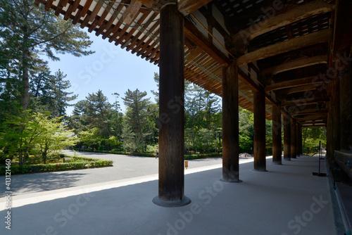 Fotografering 唐招提寺 金堂の柱 奈良市