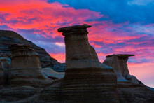 Hoodoo Rock Formations In The Alberta Badlands Near Drumheller At Sunrise