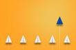 一歩先行く青い紙飛行機。新しいアイデア、ビジネス、先行性、創造性、ソリューションのビジネスコンセプト