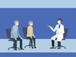 医者の説明を受ける老夫婦イラスト 病院 フラットイラスト