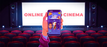 Online Cinema Concept With Human Hand Holding Smartphone With Application For Watching Movie In Internet On White Screen And Rows Of Red Seats Background, Media Mobile App Cartoon Vector Illustration