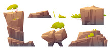 Mountain Rocks, Island Or Stones With Green Trees And Plants, Natural Elements, Geological Materials Texture Or Pc Game Formation Isolated On White Background. Cartoon Vector Illustration, Icons Set