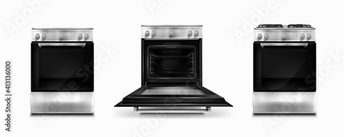 Slika na platnu Gas stove and induction cooking panel with electric oven with open and closed door isolated on white background