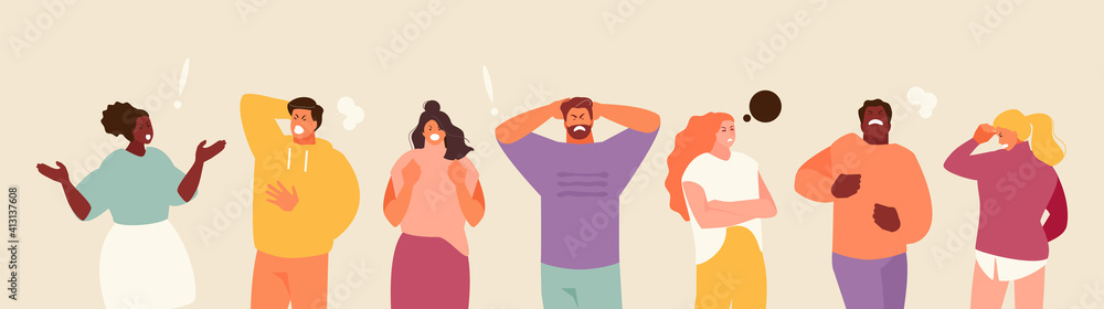Fototapeta People experiencing stress and anger. Negative emotions and frustration vector illustration