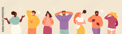 Fototapeta People experiencing stress and anger. Negative emotions and frustration vector illustration obraz
