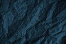 Black Blue Green Crumpled Rough Paper Background. Wrinkled Texture Of Colored Packaging. Grunge Background With Copy Space For Design.