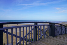 Beach Access Pontoon Stairs To Sand Beach In Lacanau Ocean