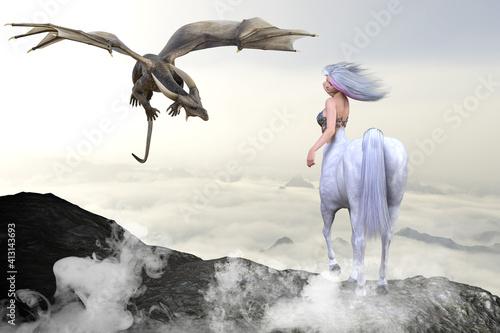 Slika na platnu 雲海が見える高い岩山の頂上で一匹の角を持つドラゴンと対峙する長髪をなびかせる綺麗なケンタウロス