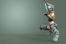 ヘルメットと戦闘スーツを着たビームの短刀を持ち戦いの構えをする好戦的な女性戦闘員