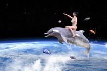 たくさんの小魚と一緒に宇宙を泳ぎジャンプするイルカの背中に乗るお団子ヘアの元気なビキニの女の子