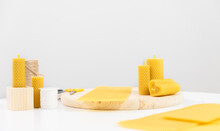 Banner Yellow Candles Made Of Beeswax With Smell Of Honey On White Background