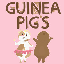 Set Of Cute Guinea Pigs - Boy And Girl On Hind Legs, Cute Home Rodent, Vector Illustration  In Flat Style
