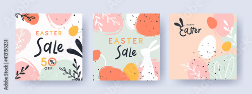 Photo Happy Easter Set of banners, greeting cards, sale posters, holiday covers