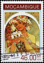 Illustration Of Woman By Alfonse Mucha On Postage Stamp