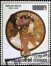 Illustration Of Woman By Alfonse Mucha On Stamp Of Guinea