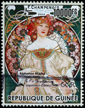 Advertising Illustration By Alphonse Mucha On Postage Stamp