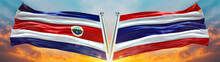 Thailand Flag And Costa Rica Flag Waving With Texture Sky Cloud And Sunset Double Flag
