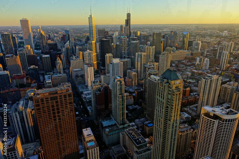 Fototapeta Aerial View Of Modern Buildings In City