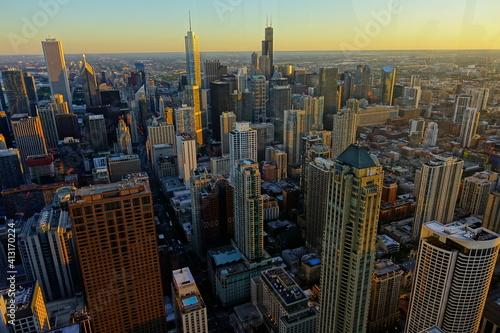 Fototapeta Aerial View Of Modern Buildings In City obraz