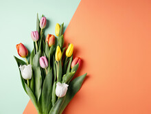 Overhead View Of Bouquet Of Colorful Tulips On Dual Tone Orange And Mint Background. Minimal Floral Spring Concept. Valentine's Or 8th March Background. Flat Lay, Top View.