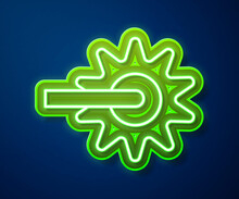 Glowing Neon Line Cowboy Horse Riding Spur For Boot Icon Isolated On Blue Background. Vector.