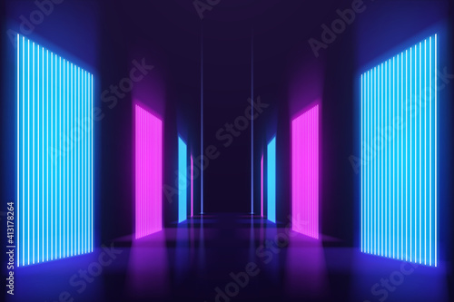 Fotografie, Obraz Abstract neon light corridor background
