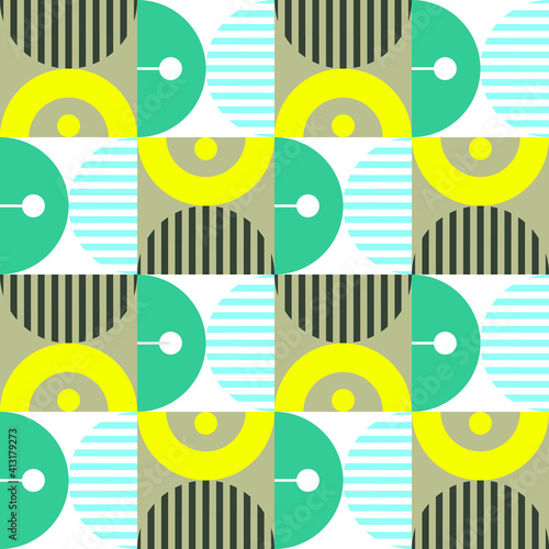 Obraz na plátně Modern vector abstract seamless geometric pattern with shapes, lines and element