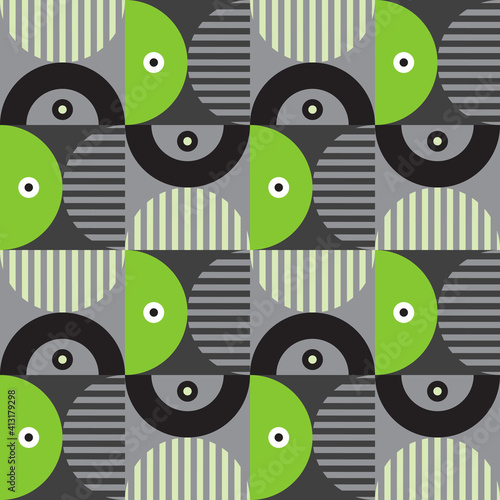 Fotografie, Obraz Modern vector abstract seamless geometric pattern with shapes, lines and element