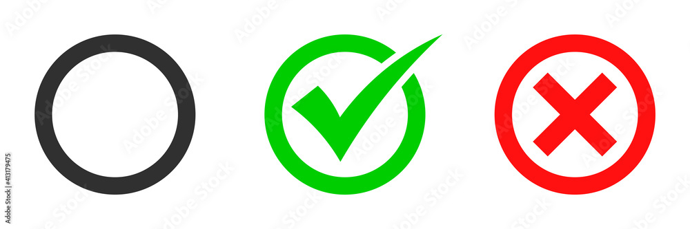 Tick and cross brush signs. Green checkmark OK and red X icons, isolated on white background. Simple marks graphic design. Symbols YES and NO , decision, web.