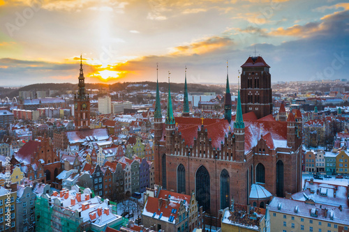 Beautiful old town of Gdansk with Saint Mary Basilica at sunset, Poland