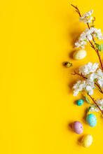 Happy Easter With Eggs And Flowering Branch, Top View