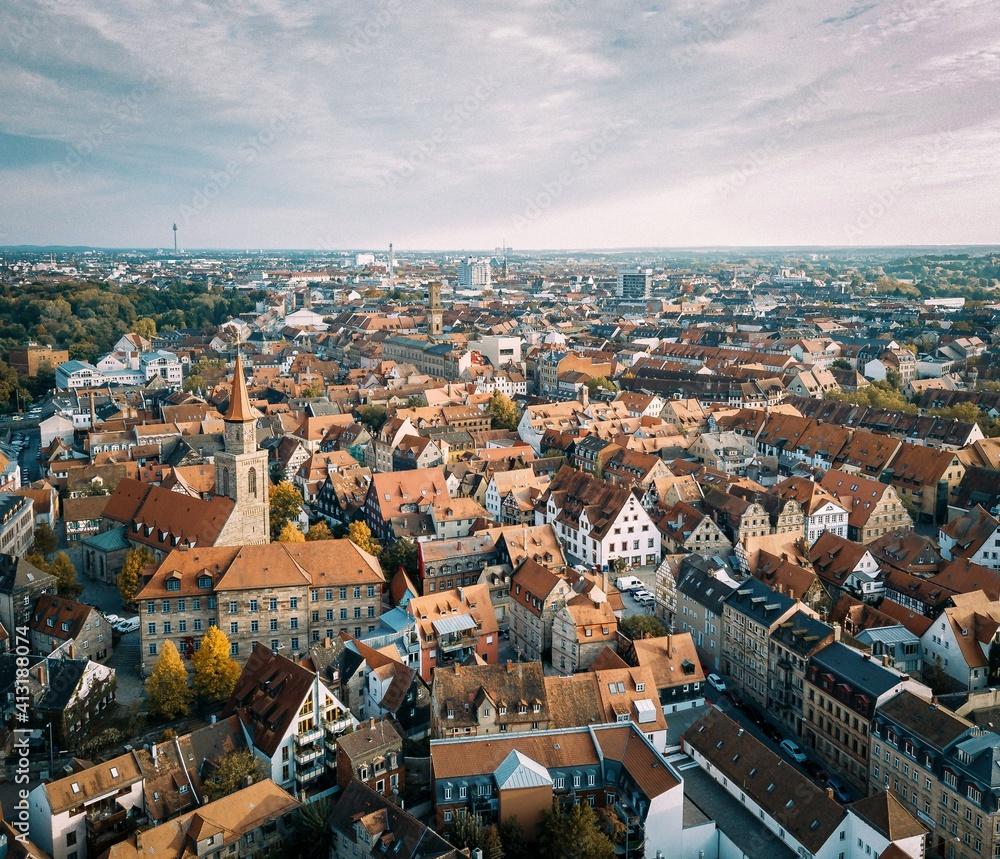 Fototapeta High Angle Shot Of Townscape Against Sky