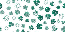 Collection Of Clover, Patrick's Day. Hand-drawn Style. Vector Illustration.