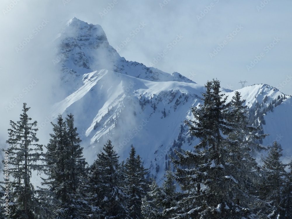 Fototapeta Scenic View Of Snow Covered Mountain Against Sky