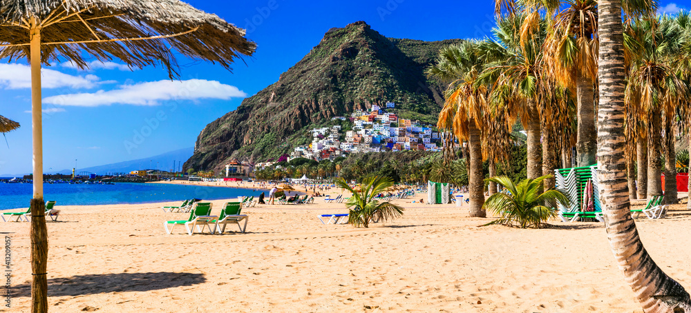 Fototapeta Best Beaches of Tenerife - gold sandy Las Teresitas with scenic San Andres village. Canary islands of Spain