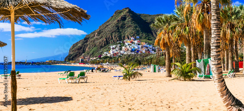 Fototapeta Best Beaches of Tenerife - gold sandy Las Teresitas with scenic San Andres village