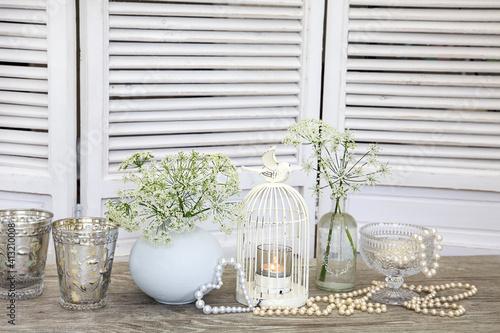 Fotografie, Tablou White Nostalgic Still Life With Birdcage