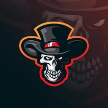 Skull Mascot Logo Design Vector With Modern Illustration Concept Style For Badge, Emblem And T Shirt Printing. Skull Head Illustration.
