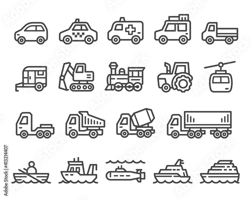 Obraz na plátne vehicle and transport thin line icon set,vector and illustration