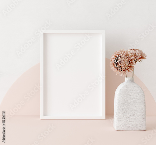 Mock up frame close up in home interior background, Boho style, 3d render - fototapety na wymiar