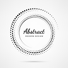 Circular Dot Frame. Circle Border With Effect Halftone. Modern Faded Ring. Semitone Shape Round. Point Sphere Boarder. Dotted Geometric Pattern. Graphic Small Dots Element For Design Prints. Vector
