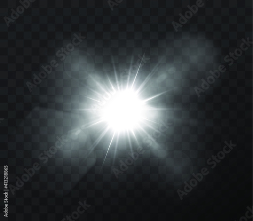 Fototapety, obrazy: The sun is shining bright light rays with realistic glare. Light star on a transparent black background.