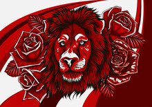 Lion With Roses On Colored Background. Vector Illustration