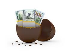 Broken Chocolate Egg With Dollar Bills. 3d Illustration