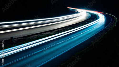 Fototapeta lights of cars with night. long exposure obraz