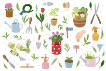 Gardening Collection. Tools And Plants Isolated On White Background. Tulip,seedling,vegetables.Vector Hand Drawn Illustration.