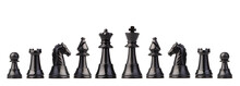 Chess Pieces Against White Background