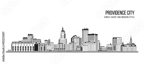 Cityscape Building Abstract Simple shape and modern style art Vector design - Providence city